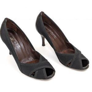 Donald J Pliner Zudora Black Mesh/Patent Heels 6.5